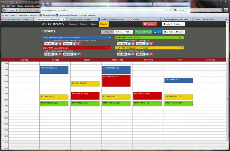 university class schedule generator chronos 20130012 university
