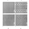 SEM images of templated blends. (A) rectangular lattice of circular posts, (B) rectangular lattice of dash-shaped posts, (C) Dashes oriented in x- and y-directions (D) Strategic posts define meander pattern
