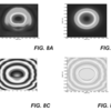 FIG. 8A is a plot of the mode emitted by a short grating vertical coupler.  FIG. 8B is a plot of an optical fiber mode.  FIGS. 8C and 8D are plots of the phase profile of the wave emitted by a short grating vertical coupler before and after collimation, respectively, with a diffractive optical element.