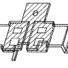 semi-transparent view of the novel SiC haU·bridge power module shown in (1), showing the botlom metal leadframe