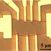 Microscope image of graphene transistor.