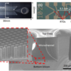 Images and SEM of fabricated microchannel. (a) Top and (b) bottom view image. (c) SEM of the cross section image of a representative, fabricated microchannel and magnified view of micropillars on the channel bottom surface (inset).