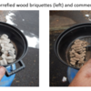 Photographs of grilling charcoal pellets - temperature profiles compared