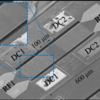Figure 2. Scanning electron microscope picture of a bulk-mode LNoSi transversal filter (Atype) with large tunable gains and nonreciprocity.