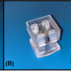 Optical images of the Hypo-Rig after printing and assembly: (A) shows the assembled rig and release stamp. (B) demonstrates the assembly working together for release. (C) demonstrates the assembly in practice, for alignment with a custom culture well no larger than 16mm in diameter. The device is scalable for larger devices, and the density of dispensing needles can also increase.